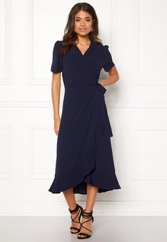 John Zack Short Sleeve Wrap Dress Navy Bubbleroom.eu