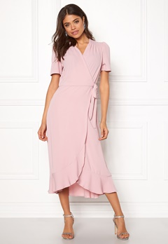 John Zack Short Sleeve Wrap Dress Pink Bubbleroom.eu