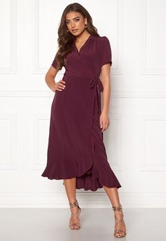 John Zack Short Sleeve Wrap Dress Wine Bubbleroom.eu