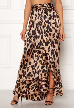 John Zack Wrap Frill Maxi Skirt Animal Print Bubbleroom.eu