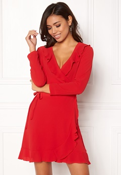 John Zack Wrap Frill Mini Dress Red Bubbleroom.eu