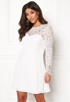 Goddiva Lace Trim Skater Dress White Bubbleroom.eu