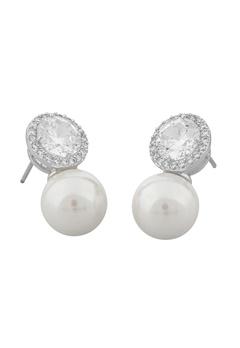 SNÖ of Sweden Lex Pearl Earrings Silver/Clear Bubbleroom.eu