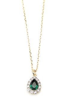 LILY AND ROSE Amelie Necklace Emerald Bubbleroom.eu