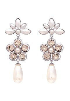 LILY AND ROSE Aurora Pearl Earrings Ivory Silk Bubbleroom.eu