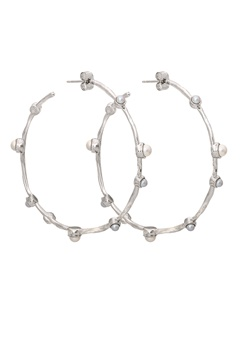 LILY AND ROSE Jagger Hoops Earrings Ivory Silver Bubbleroom.eu