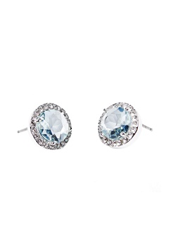 SNÖ of Sweden Lissy Stone Earrings Silver/Light Aqua Bubbleroom.eu