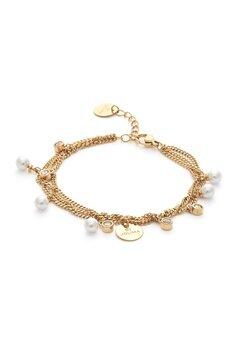 BY JOLIMA Liz Multi Charm Bracelet Milky White Gold Bubbleroom.eu
