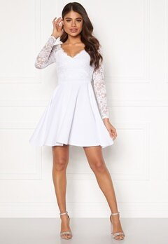 Goddiva Long Sleeve Skater Dress White Bubbleroom.eu