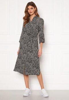 OBJECT Lorena 3/4 Shirt Dress Sandshell AOP Black Bubbleroom.eu