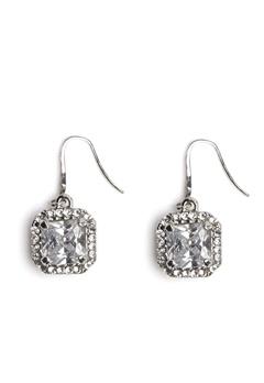 Love Rocks Square Glass Earring Silver Bubbleroom.eu