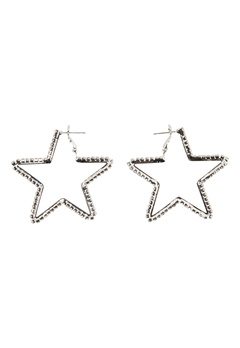 Love Rocks Star Cut Out Earrings Silver Bubbleroom.eu