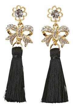 Love Rocks Tassle Bow Earrings Gold/Black Tassle Bubbleroom.eu