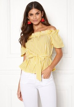Make Way Kassey off shoulder top Light yellow / White / Checked Bubbleroom.eu
