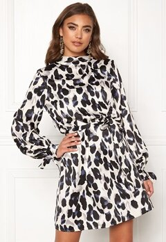 Make Way Linsley dress White / Black / Leopard Bubbleroom.eu