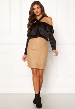 Moa Mattsson X Bubbleroom Coated skirt Camel Bubbleroom.eu