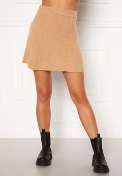 Moa Mattsson X Bubbleroom Knitted short skirt Camel Bubbleroom.eu