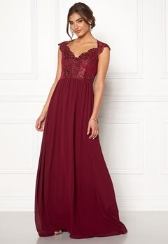Moments New York Blossom Chiffon Gown Wine-red Bubbleroom.eu
