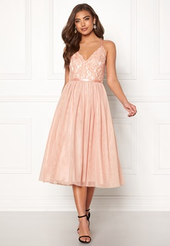Moments New York Daphne Mesh Dress Dusty pink Bubbleroom.eu