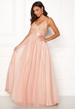 Moments New York Daphne Mesh Gown Dusty pink Bubbleroom.eu