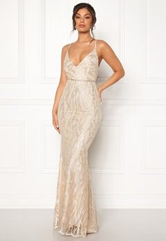 Moments New York Delphine Beaded Gown Champagne Bubbleroom.eu