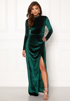 Moments New York Inda Velvet Gown Dark green Bubbleroom.eu