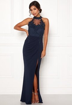 Moments New York Iris Drape Gown Dark blue Bubbleroom.eu