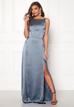 Moments New York Laylani Satin Gown Dusty blue Bubbleroom.eu