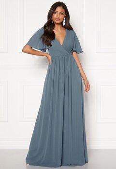 Moments New York Liana Chiffon Gown Grey-blue Bubbleroom.eu