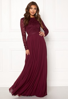 Moments New York Zaria Pleated Gown Wine-red Bubbleroom.eu