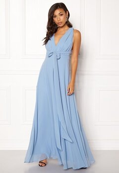 Goddiva Multi Tie Chiffon Dress Blue Bubbleroom.eu