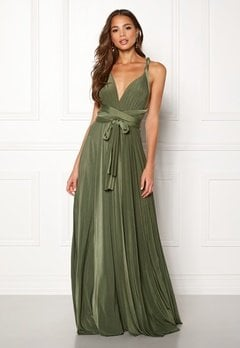 Goddiva Multi Tie Maxi Dress Olive Green Bubbleroom.eu