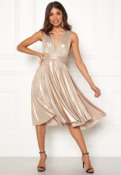 Goddiva Multi Tie Midi Dress Gold Bubbleroom.eu