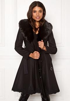 Ida Sjöstedt Nadine Coat Wool Black/Black Fur Bubbleroom.eu