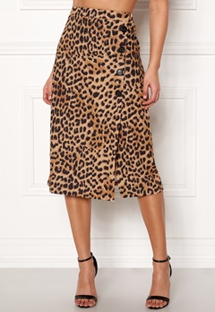 New Look Animal Asym Button Skirt Brown Pattern Bubbleroom.eu