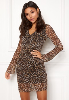 New Look Animal Plisse Twist Dress Brown Pattern Bubbleroom.eu