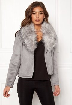 New Look Ava Shawl Collar Suedette Grey Bubbleroom.eu