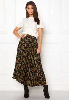 New Look Chain Print Pleat Skirt Black Pattern Bubbleroom.eu