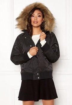 New Look Denham Fur Hood Bomber Black Bubbleroom.eu