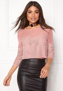 New Look Go LS Mesh Lace Crop Mid Pink Bubbleroom.eu