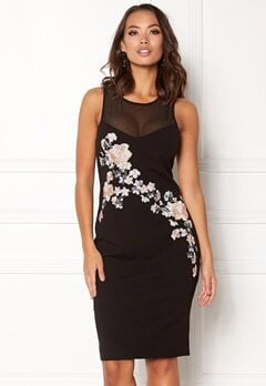 New Look Go Prem Mesh Insert Dress Black Pattern Bubbleroom.eu