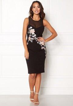 New Look Go Prem Mesh Insert Dress Black Pattern Bubbleroom.eu