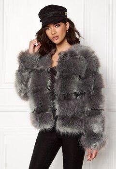 New Look Pelted Fur Short Coat Grey Bubbleroom.eu