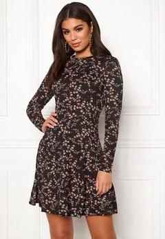 New Look Print L/S Flower Dress Black Pattern Bubbleroom.eu