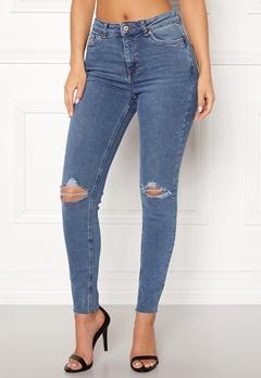 New Look Ripped Cut Off Jeans Mid Blue Bubbleroom.eu