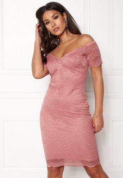 New Look Scallop Bardot Midi Dress Shell Pink Bubbleroom.eu