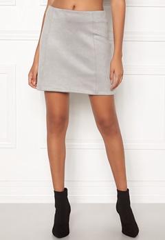 New Look Seam Suedette Mini Skirt Pale Grey Bubbleroom.eu
