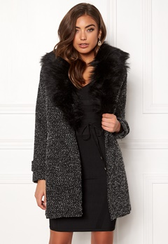 New Look Shawl Fake Fur Jacket Black Bubbleroom.eu
