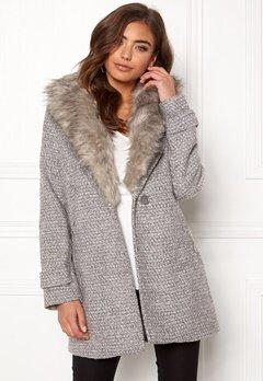 New Look Shawl Fake Fur Jacket Grey Bubbleroom.eu