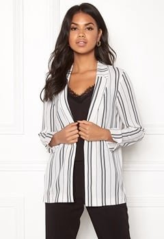 New Look Soft Crepe Stripe Blazer White Pattern Bubbleroom.eu